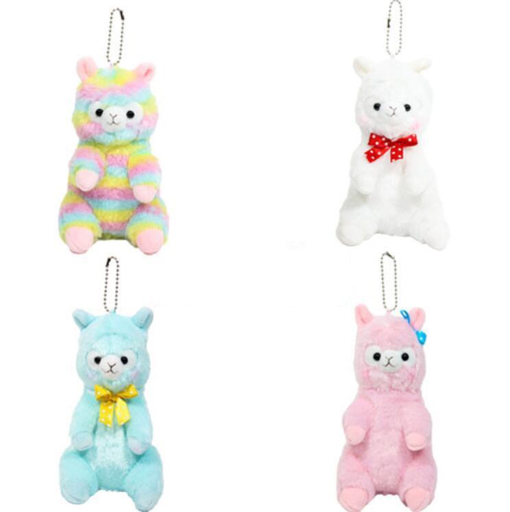 Kawaii Japanese Plus Rainbow Alpaca Doll Stuffed Plush Toy Rainbow Alpaca Horse Plush Keychain Toys For Children Christmas Gifts