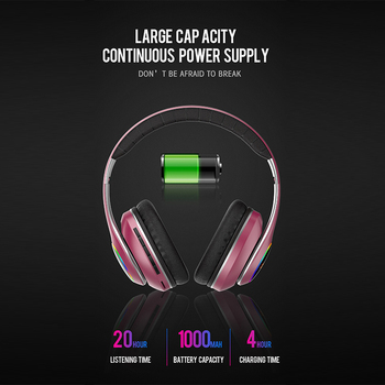 wireless headset 20H Playtime- Bluetooth Headphone Foldable LED Light 3D stereo gaming Earphone  2