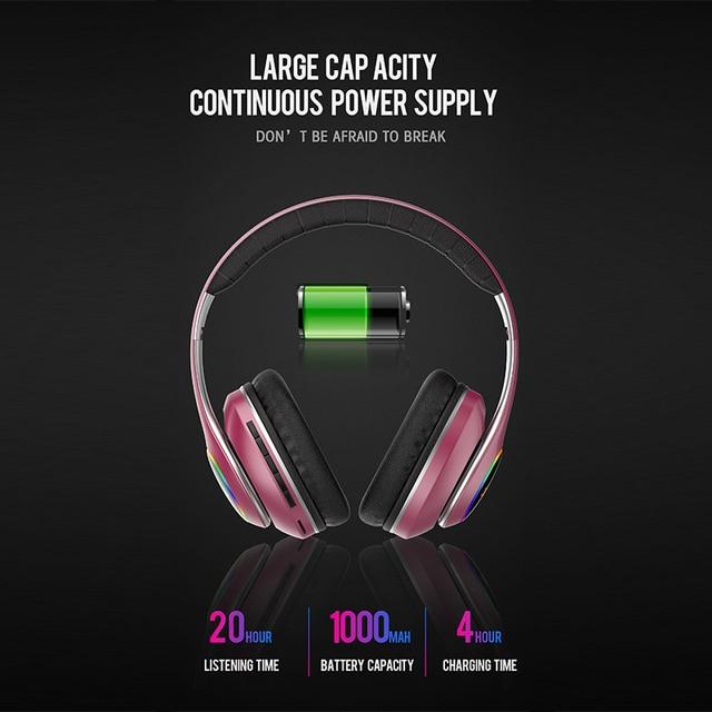 wireless headset 20H Playtime- Bluetooth Headphone Foldable LED Light 3D stereo gaming Earphone  2