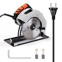 Sierra eléctrica Circular de 7 pulgadas para el hogar, cuerpo de aluminio, portátil, para carpintería, Sierra de mesa, máquina de sierra eléctrica con tapa