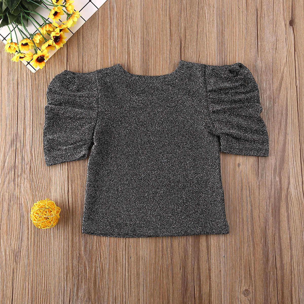 0-5y crianças da criança do bebê da menina t camisas roupas de verão camisetas casuais camiseta estrelas lantejoulas imprimir sólido moda