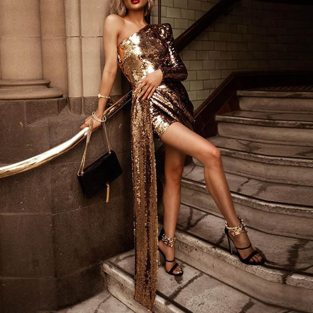 Elegant Golden   Cocktail     Dress   Sheath Short Mini One Shoulder Long Sleeves Sequin Night Club Evening Party Gown   Cocktail     Dresses