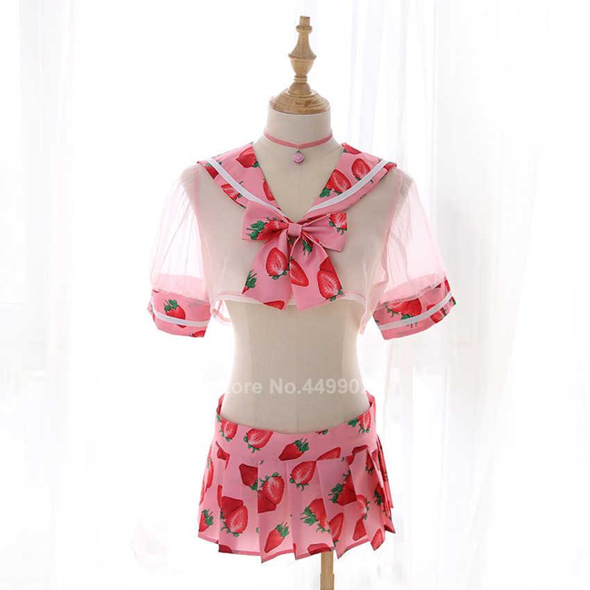 Tops + Rok Kleding Set Vrouwen Japanse Jk Pak Sexy Leuke Student Meisjes Schooluniform Transparente Lace Mini Vest Lingerie
