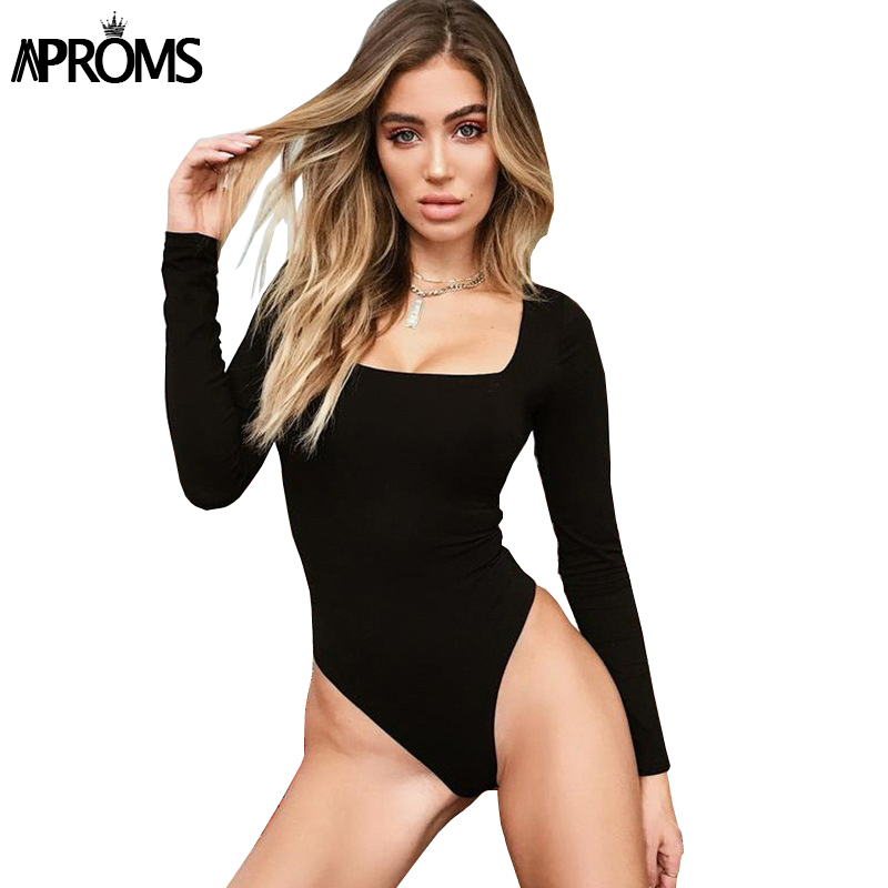 Aproms White Square Neck Knitted Bodysuit Women Sexy Long Sleeve Ribbed Slim Fit Bodysuit Streetwear Jumpsuit For Women Top 2020