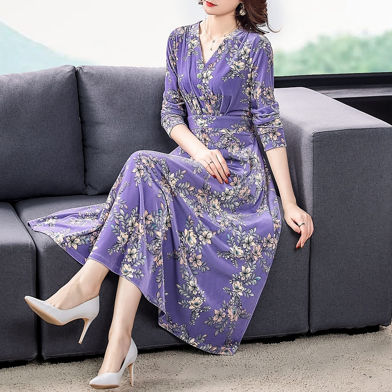 ZUOMAN 2021 Fall Winter Purple Floral Velvet Midi Dresses Korea Vintage 3XL Plus Size Long Dresses Women Elegant Party Vestidos 2