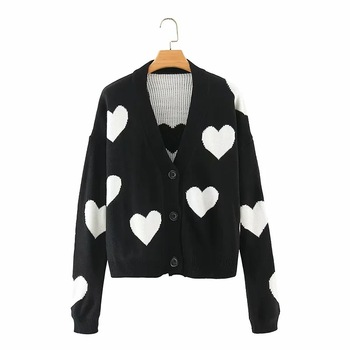 Women Loving Heart Sweaters Cardigans Autumn Winter 2020 Sweet V Neck Mujer Chaqueta Loose Warm Korean Tops