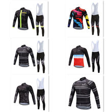 go pro MTB 2019 Breathable Cycling Jersey Bike Clothing Long sleeve shirt bib pants Set mountain bike clothes TINKOFF SKY недорого