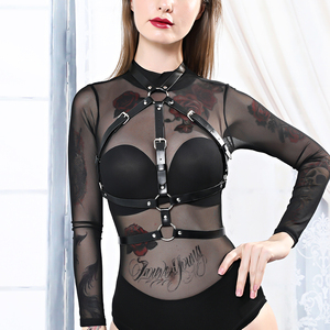 B.CYQZ Leather Harness Gothic Set Women Garter Sexy Lingerie Nick Sex 2 Pieces Body Bondage Cage Garter Band Punk Sexy Suit(China)