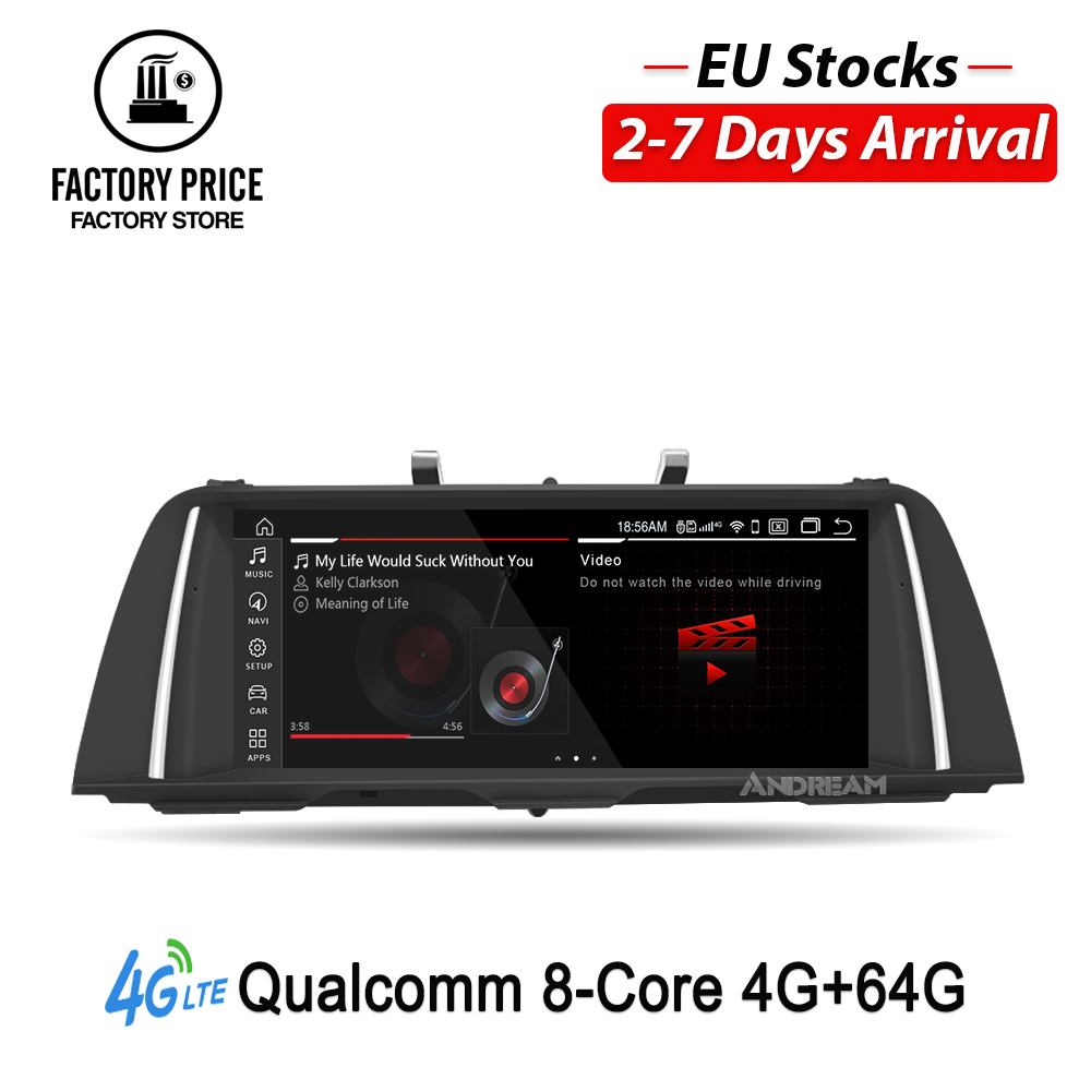 """10.25"""" Qualcomm Octa Core 4G+64G 4G LTE Android 9 IPS screen Car multimedia for BMW Series 5 F10 F11  Bluetooth GPS Navigation