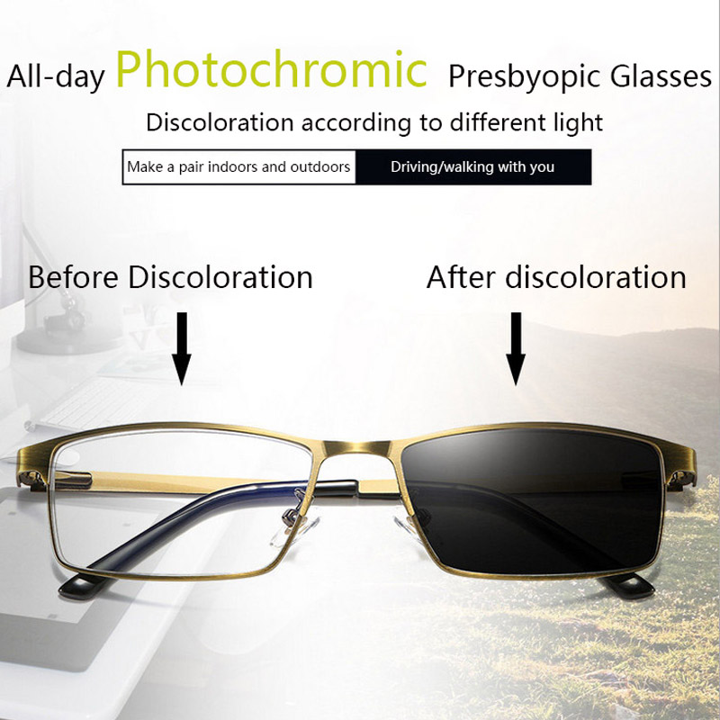 New Intelligence Progressive Multifocal Reading Glasses Men Women Metal Frame Anti Blue Light Photochromic Presbyopia Eyeglasses