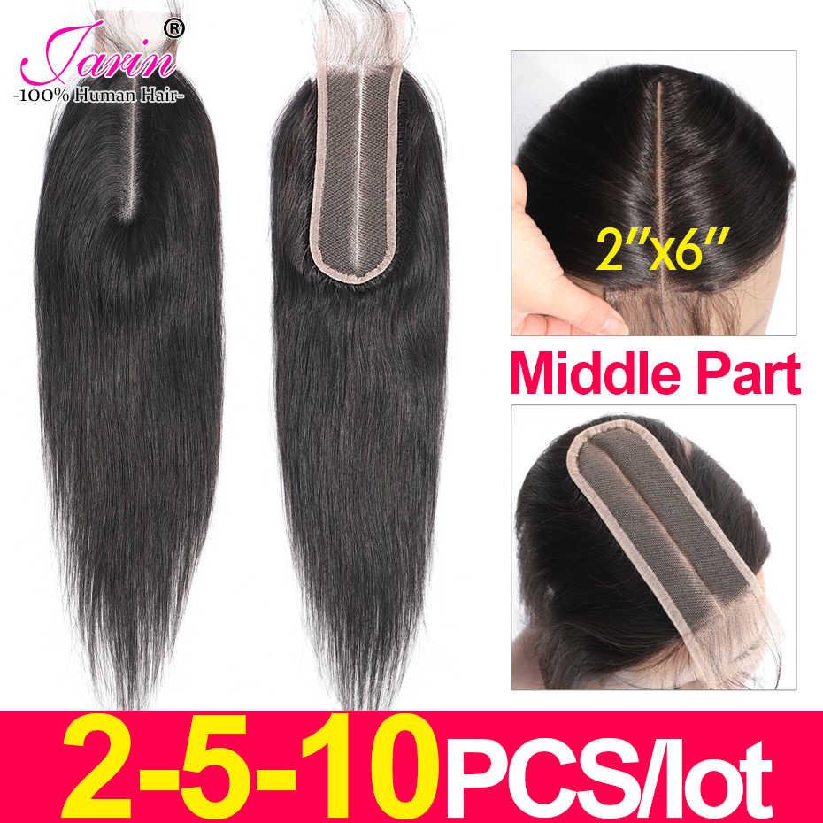 2-5-10 Stuks/partij 2X6 Peruaanse Steil Haar Vetersluiting Middelste Deel 100% Menselijk Haar Remy natuurlijke Zwarte Kleur Voor Vrouwen Jarin