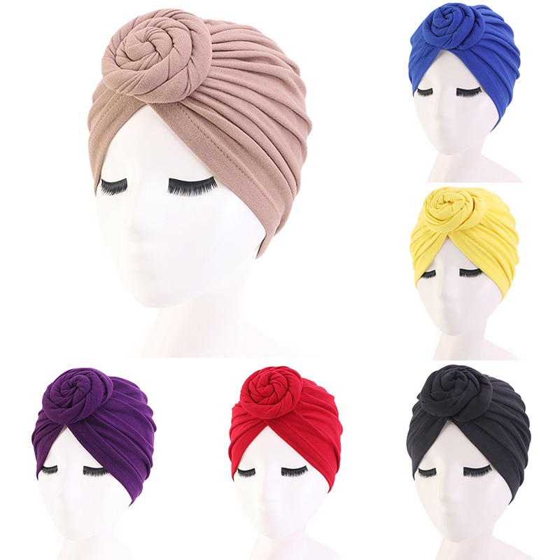 Women's Headband Stretch Turban Muslim Hat Solid Color Cancer Chemo Hat Head Wrap Cap Hair Accessories