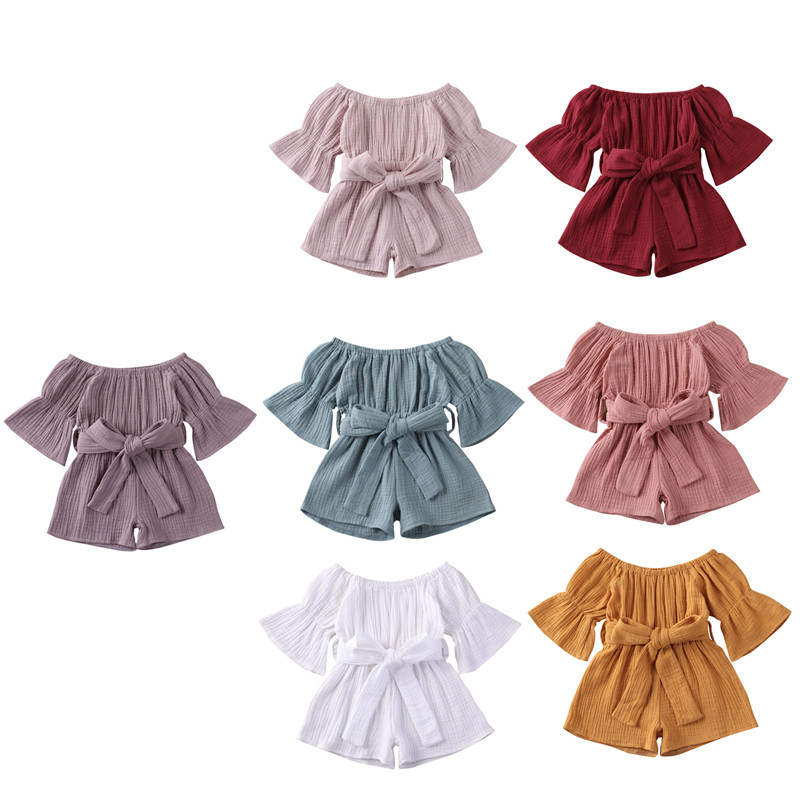 Baby Girls Summer Clothing Princess Baby Girls Off Shoulder Cotton Linen Romper Jumpsuits Toddler Infant Cotton Casual Outfits