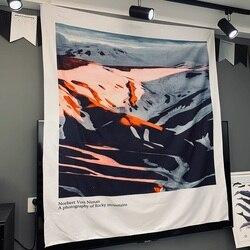 Śnieg krajobraz górski obicia ścienne salon gobelin sypialnia dekoracja akademika kurtyna tkanina w stylu sandinarian w Dekoracyjne gobeliny od Dom i ogród na