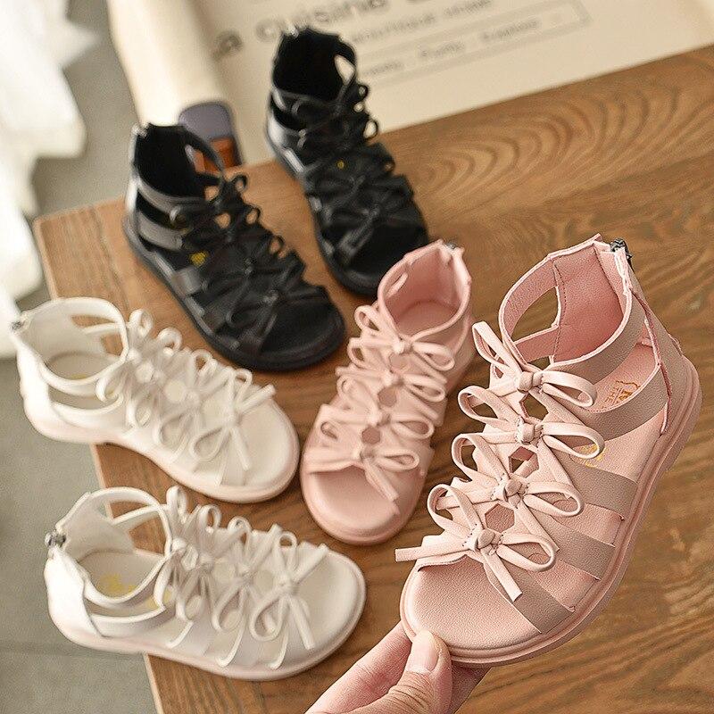 Sandales de plage pour grandes filles été gladiateur découpes enfants chaussures noeud papillon loisirs enfants Mini Melissa pour grands garçons Rome sandales