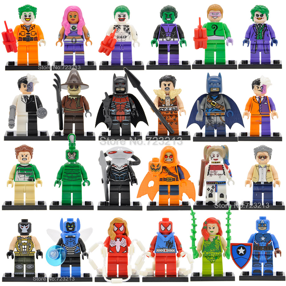 DC Starfire Beast Boy Black Manta Figure Sandman Blue Beetle Scorpion Joker Batman Building Blocks Super Hero Toys Legoing
