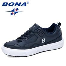 BONA 2019 New Designers Men Shoes Sneakers Casual Soft Leather Skateboard Shoes Man Lightweight Jogging Training Footwear Male