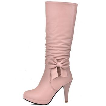 2021 buty damskie długie czółenka okrągłe Toe buty do kolan słodkie codzienne PU Bowknot połowy łydki buty damskie damskie buty Lotita obuwie tanie i dobre opinie yuxiang Szpilki podstawowe CN (pochodzenie) Zima Węzeł motylkowy Stałe women shoes Adult Krótki plusz okrągły nosek