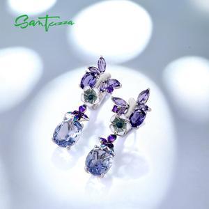 Image 4 - Женские серебряные серьги SANTUZZA, фиолетовые серьги подвески с бабочками из стерлингового серебра 925 пробы с кубическим цирконием, модные ювелирные изделия