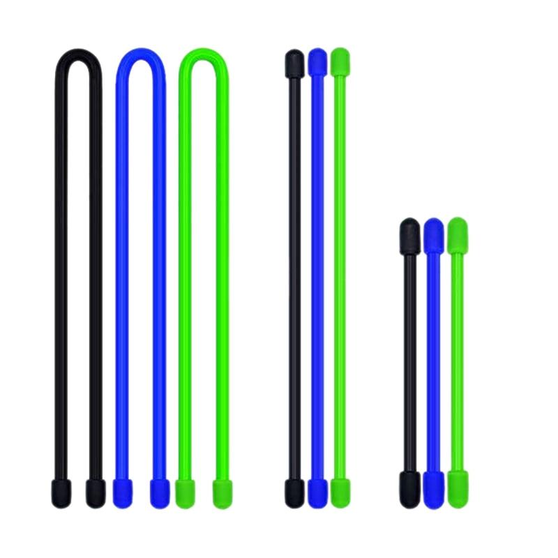 9Pcs/Set Silicone Cable Tie, Reusable Twist Tie, Cable Tie Straps, 4-Inch,6-Inch,12-Inch
