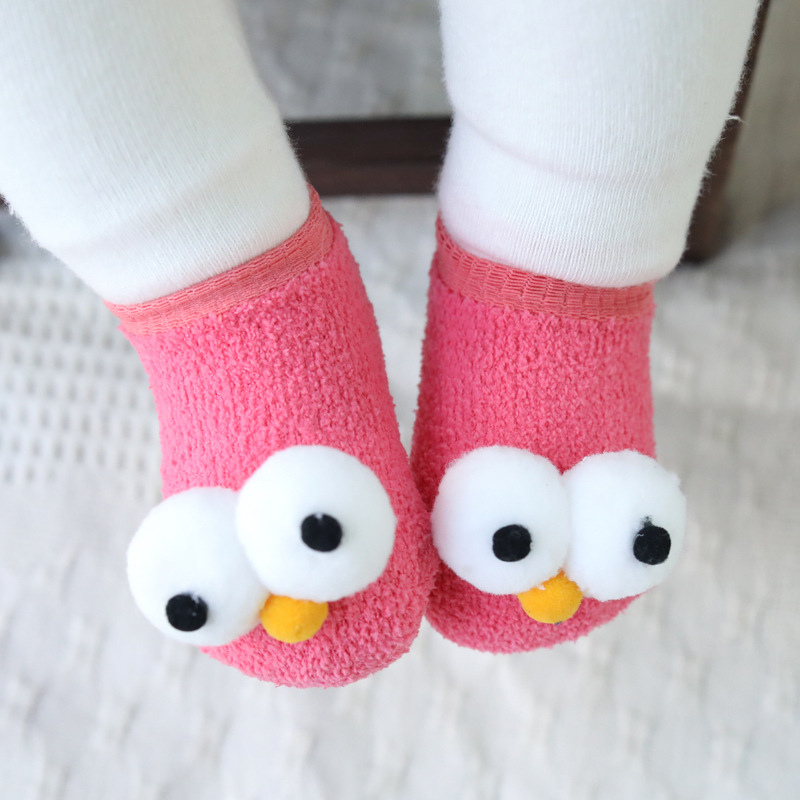 PPXX Big Eye Winter Thick Children Baby Socks Cartoon Infant Girl Boy Socks For Kid Halloween Custom Cotton Soft Antislip