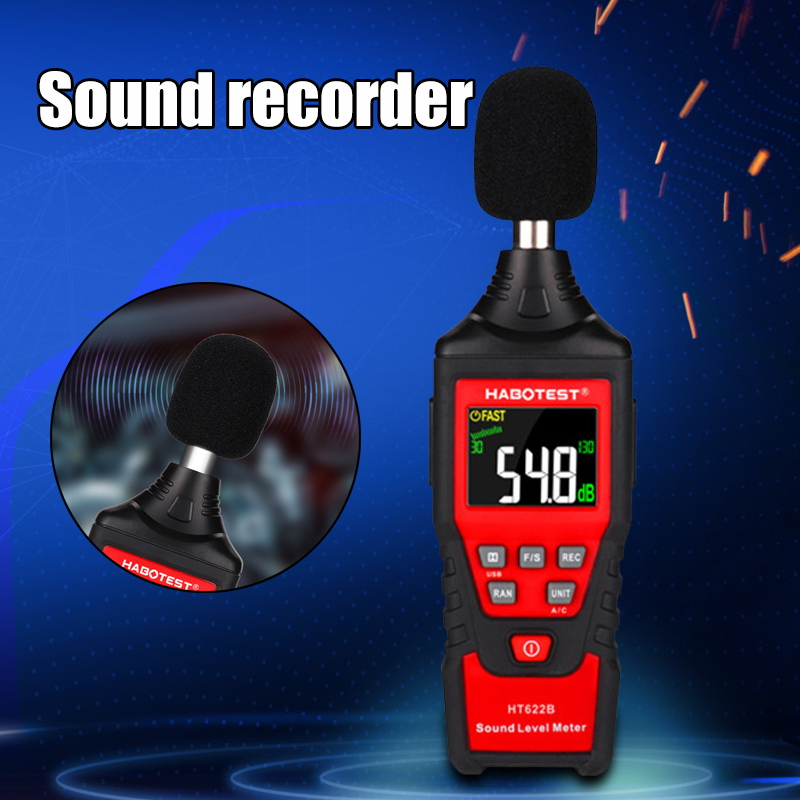 Handheld Sound Level Test Tool Noise Meter Decibel Test With Backlight Digital Display HT622B PUO88