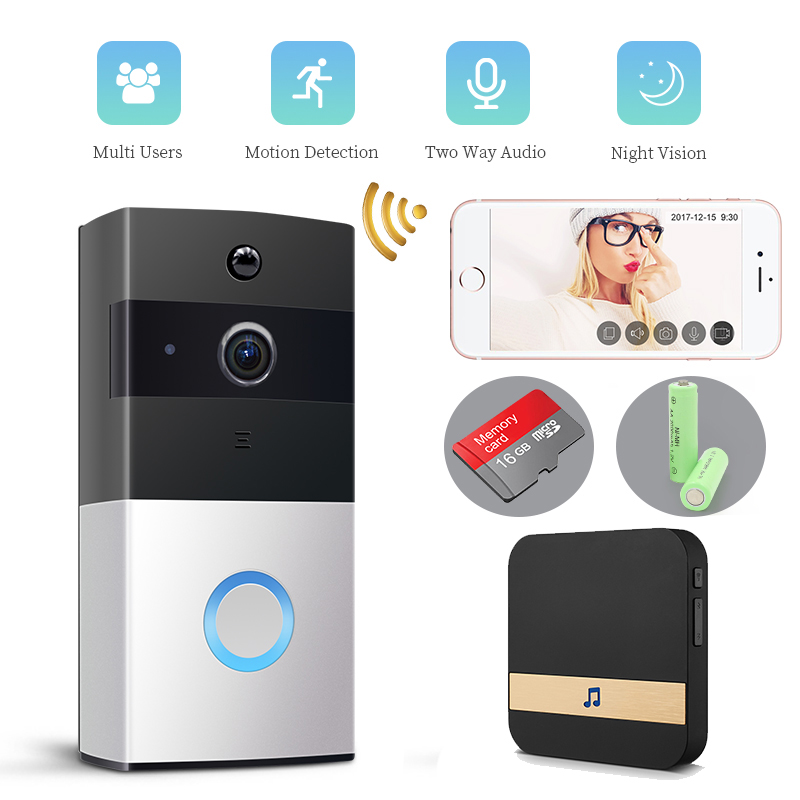 Video Doorbell Doorbell Camera HD 720P WiFi Doorbell Wireless Operated Motion Detect Audio&Speaker Night Vision For IOS&Android