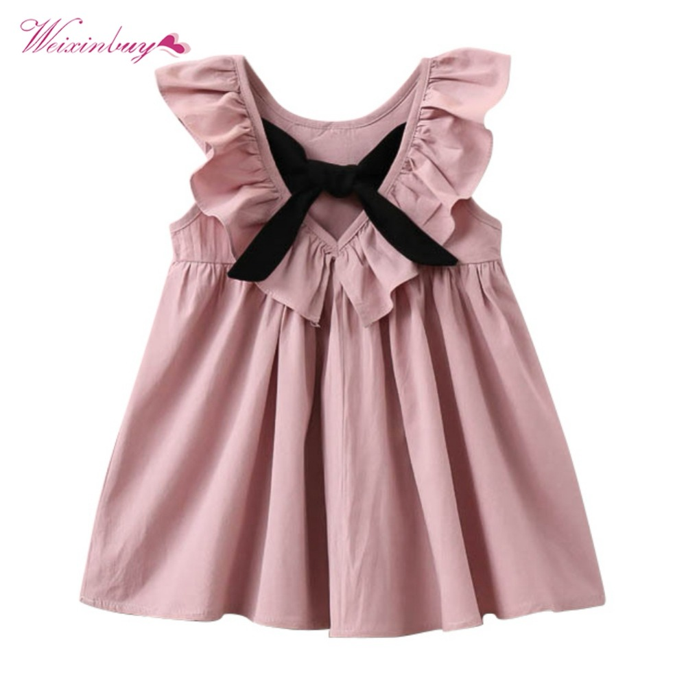 Weixinbuy Kid Baby Girls Summer Bowknot Wedding Party Sleeveless Dresses