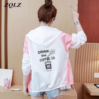 ZQLZ Spring Jacket Women 2020 New Thin Windbreaker Outwear Female Coat Letter Cartoon Casual Fashion Hooded Jackets Womens fashion skulls ghost devil jackets men women couple funny joker windbreaker windproof thin pocket hooded jacket