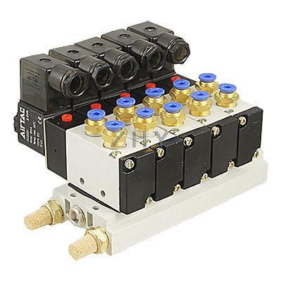4V210-08 AC 220V 2 Position 5 Way 5 Solenoid Valve Connected Base Muffler