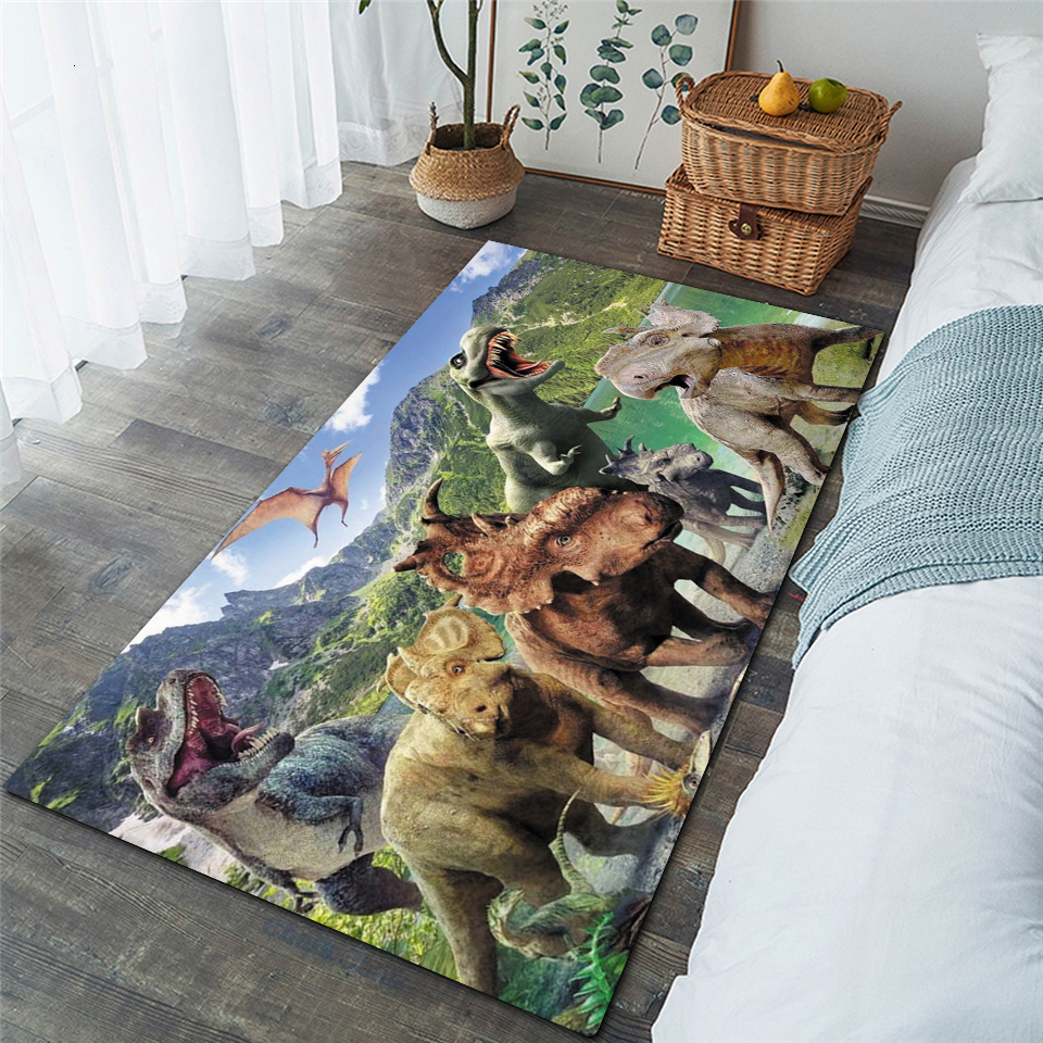 Детские ворсистые противоскользящие напольные коврики с динозавром, 3D ковер, нескользящий ковер, ковер для столовой, гостиной, мягкий коври...