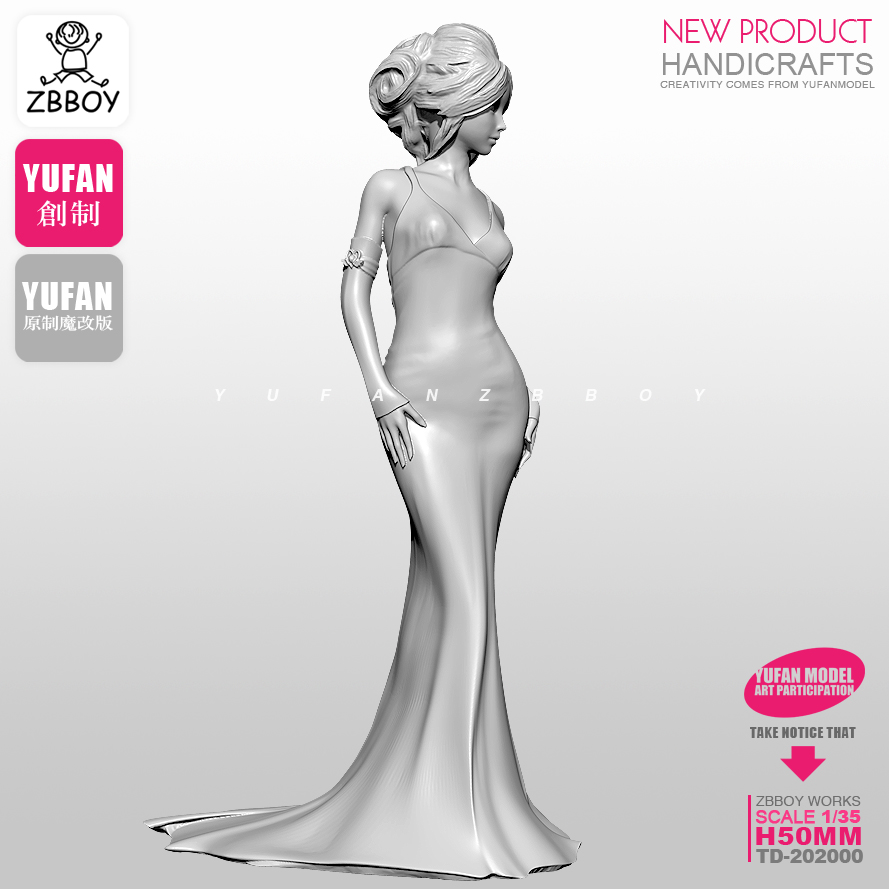 50MM1/35  Resin Kits Evening Dress Goddess Resin Soldier Self-assembled TD-202000