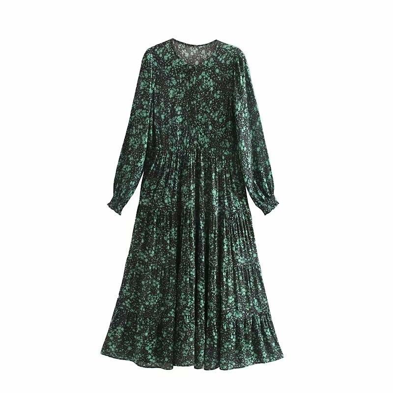 Новинка 2019, женское элегантное платье с круглым вырезом и длинным рукавом, зеленое повседневное женское платье-миди с цветочным принтом, ши...