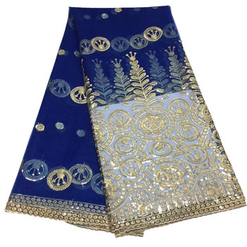 African Laces Fabrics Guipure French Lace Fabric High-quality 2019 Navy Blue Sequines Nigeria Net Lace Fabric Wedding Dress