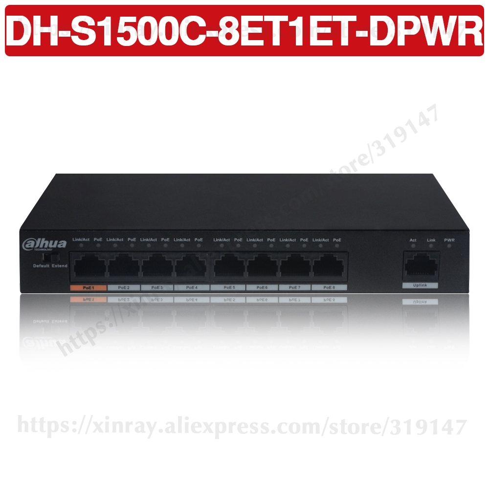 Dahua PoE Switch DH-S1500C-8ET1ET-DPWR 8CH POE Ethernet Power Switch Support 802.3af 802.3at POE+ Hi-PoE Power Standard