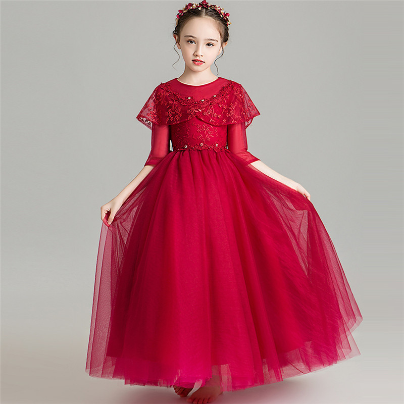 Autumn Winter Luxury New Girls Children Long Sleeves Wine-red Birthday Wedding Party Princess Fluffy Dress For Kid 3~14T Clothes