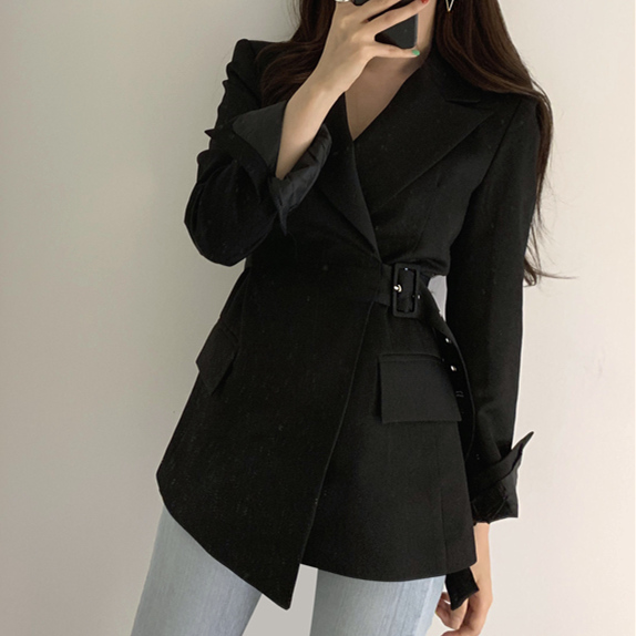 H8e9f807c84da41fcb422f9ce129d8ca00 Colorfaith New 2019 Autumn Winter Women Jackets Office Ladies Lace up Formal Outwear Elegant Solid Pink Black Tops JK7042