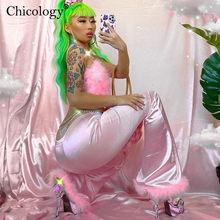 Chicology saten ipeksi kürk parlama pantolon çan alt 2020 kış sonbahar seksi kadın Streetwear elbise pantolon Y2K moda doğum günü