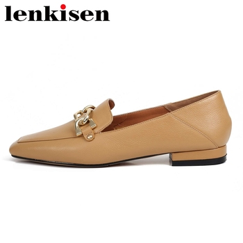 Lenkisen new arrival genuine leather square toe low heel shoes women chain decorations gentlewomen slip on deep mouth pumps L18