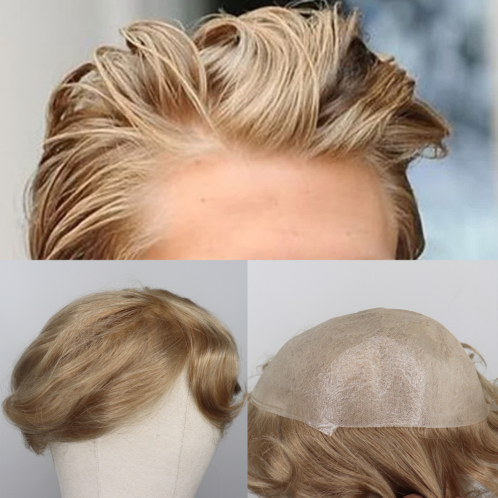 YY Wigs Blonde Thin PU Human Hair Toupee For Men Malaysian Remy Hair Replacement System 8x10 Curly Men's Hairpiece Men Wig #20
