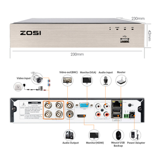 Image 3 - ZOSI 4CH מלא 1080P וידאו אבטחת מצלמה מערכת, 4 עמיד 1920TVL 2.0MP מצלמות, 4 ערוץ 1080P HD TVI H.265 DVR עם 1TB