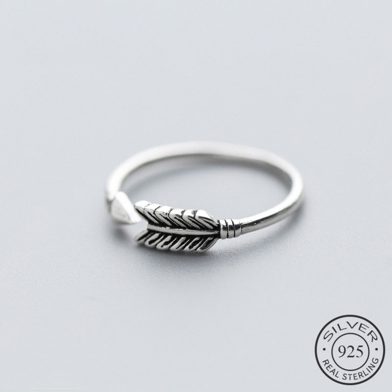 Vintage Cupid's Arrow Shape Authentic 925 Sterling Silver Ring Romantic Adjustable Women Engagement Fine Jewelry Gift