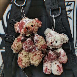 Punk Bloody Plush Bear Keychain Halloween Injured Animal Bear Doll Key Ring Bags Pendant Creative Fashion Cool Jewelry
