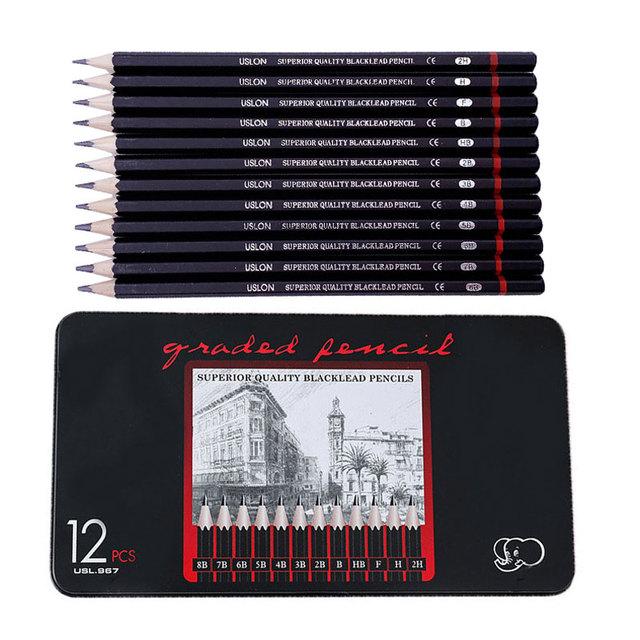 12 sztuk zestaw profesjonalny szkic zestaw ołówków 2H H F B HB 2B 3B 4B 5B 6B 7B 8B malowanie kredki artykuły biurowe tanie i dobre opinie CN (pochodzenie) 18cm Drewna Standardowe ołówki
