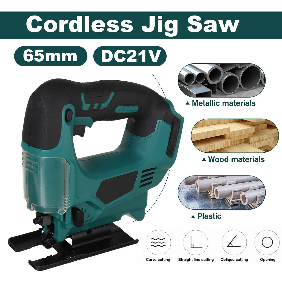 21V 65mm Cordless Jigsaw Electric Saw Portable Multi-Function Jig Saw Woodworking 2900RPM for Makita 18V Battery