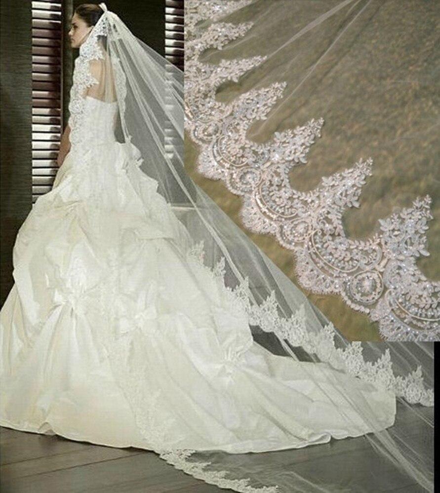 Image 3 - White/Ivory Wedding Veil 2M/ 2.5M / 3m / 4M Long Comb Lace Mantilla Cathedral Bridal Veils Wedding Accessories Veu De NoivaBridal Veils   -