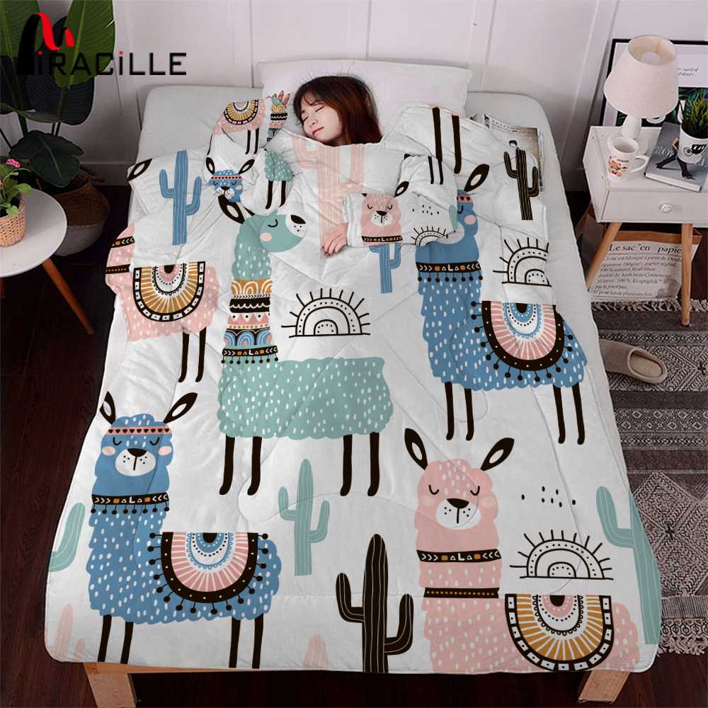 Miracille Cartoon Alpaca Lazy Quilt With Sleeves Family Winter Cape Nap Blanket Warm Thick Multifunction Home Bedding Comforter