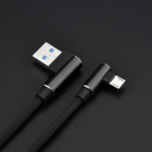 1M 90 Degree Angled L Shape V8 USB 2.0 Charging Data Linen Cable For Android Mic