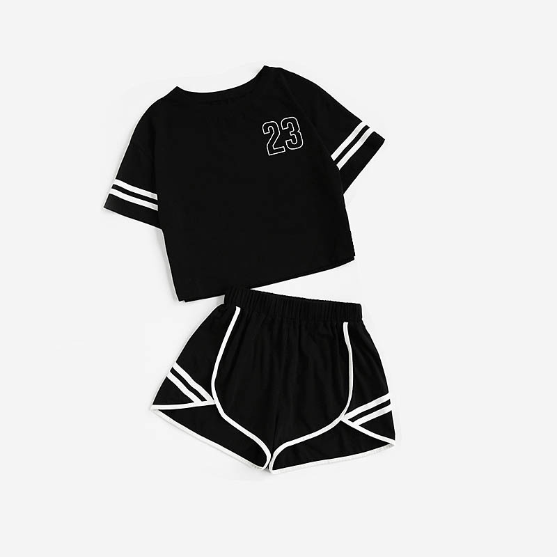 AliExpress New Style Women's Stripes Printed Letter Navel Shorts Leisure Suit