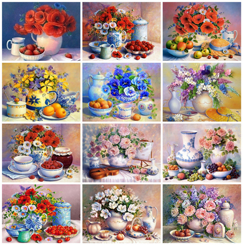 Huacan 5D DIY Diamond Painting Fruit Flowers Full Square Art Embroidery Mosaic Home Decoration - discount item  30% OFF Arts,Crafts & Sewing